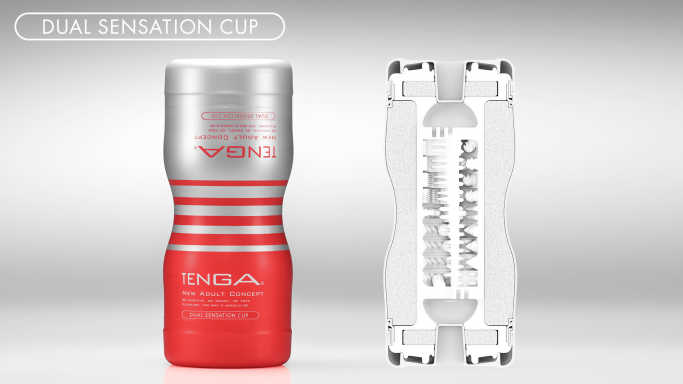 Side-by-side photo and diagram of the Dual Sensation CUP and its internal details
