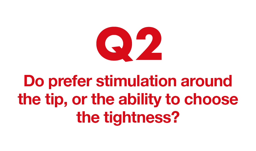 Q2. Do prefer stimulation around the tip, or the ability to choose the tightness?